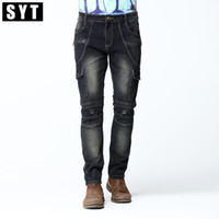 Wholesale Motorbike Jeans - Wholesale- SYT Brand New Mens Cargo Jean Pants Dark Wash and Knee Sewing Detail Slim Skinny Stretch Jeans Deep Blue Motorbike Jean V7C1J008