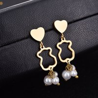 Wholesale Panda Pendant White Gold - Hot selling High Quality No Fade Stainless steel cute Animal panda style pearls bead pendants earring El oso pendiente