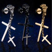 Wholesale Skull Earrings Tassel - Stainless Steel Stud Earrings Body Piercing Jewelry Tassels Skull Sketelon Dangling Cross Stud Earrings 3 Colors Trendy Stud Jewelry