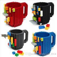 Wholesale Light Building Bricks - Hot sale Drinkware Building Blocks Mugs DIY Block Puzzle Mug 350Ml Build-On Brick creative Mug Lego Type Coffee Cup b686