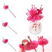 palhas para chá de bebê venda por atacado-Decoração de casamento Doce Engraçado flamingos Papel Canudos Beber Rosa Quente tarja Azul vara de Bebê chuveiro Para A Festa de Aniversário IC689