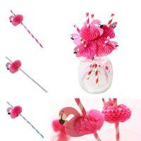 baby-dusche papier strohhalme großhandel-Hochzeitsdekoration Süße Lustige flamingos Papiertrinkhalme Pink Blau streifen Stick baby shower Für Geburtstagsfeier IC689