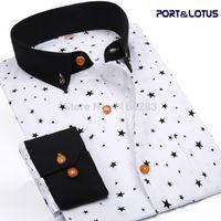 Wholesale Slim Port - Wholesale- Port&Lotus Men Shirt New Fashion Long Sleeve Polka Dot Star Slim Fit 085 QS Men clothes Chemise Homme Camisa Masculina wholesale