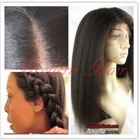 Wholesale Long Kinky Straight Lace Wig - Free shipping heat resistant fiber yaki kinky straight wig italian yaki synthetic lace front wig long fluffy wigs for black women 2#4#6#8#