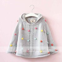 Wholesale Cardigan Sweater Fashion - Everweekend Girls Candy Dots Knitted Sweater Cardigans Capes Gray Color Western Fashion Sweet Children Jackets Outwears