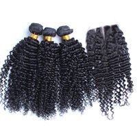 Wholesale Queen Hair Curly Closure - Queen 3Bundle Hair With Top Closure Kinky Curly 8A Peruvian Virgin Hair With Closure Afro Kinky Curly Human Hair Weave Bundles With Closures