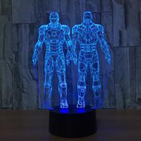 ingrosso l'uomo di ferro 3d ha portato le luci-Doppio Iron Man 3D Illusion LED Night Light Lampada 7 RGB Lights DC 5V USB Powered 5th Battery Dropshipping Scatola al minuto