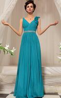 Wholesale Vintage Lake - 2016 Elegant Lake Blue Prom Dress V-Neck Beaded Sash Sleeveless A Line Long Chiffon Evening Party Dresses