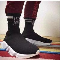 Wholesale High Speed Cycles - New Arrival 2017 Speed Trainer White Black Knit high socks sports shoes Men Women High Quality Speed stretch-knit Mid sneakers 36-44