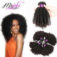 Wholesale Malaysian Queen Hair - Malaysian human kinky curly hair weave unprocessed virgin hair extension three bundles 3pics lot queen hair double weft from msjoli