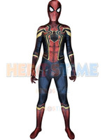 Wholesale Iron Spiderman Costume - Newest Iron-Spider Homecoming Spiderman Suit 3D Print Zentai Iron Spider-man Cosplay Movies Costumes Spidey Full Bodysuit