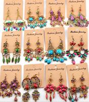 Wholesale Red Teardrop Earrings - Mix Designs New Vintage Colorful Beads Teardrop Dangle Earrings Women Bohemia Style Party Gifts Dress Earrings YNqq
