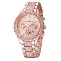 genf damen diamant quarzuhr großhandel-Luxus Genf Diamant Uhren Strass Metall Stahl Legierung Quarz Armbanduhr Gold Silber Business Kalender Uhr Damen Designer Uhren