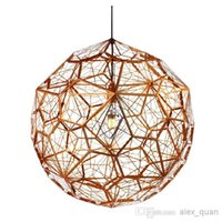 Wholesale Etch Web Pendant - Tom dixon New Modern brass Etch web pendant light Creative Diamond Pendant Lamp Free shipping PL329