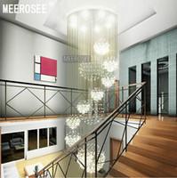 большие потолочные светильники оптовых-Современный большой хрустальная люстра светильник для лобби, лестница, лестницы, фойе длинные спиральные Crystal Light блеск потолочный светильник
