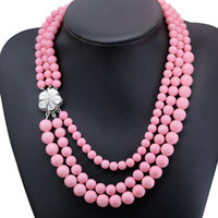 Wholesale Coral Beads Necklace Rows - Pink artificial coral round 3 row beads necklace flower shell clasp chain necklace women jewelry 17-19inch B2917