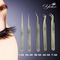 Wholesale Eyelash Extension Tweezer Curve - Wholesale-Makeup Profissional Tweezers 3d Eyelashes Lashes Tools Vetus Tweezer For Eyelash Extension Curved Straight Stainless Pincet