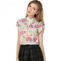 Wholesale Stamp Blouses - 2016 Fashion Summer Girl Puff Sleeve Blouse Short Sleeve Chiffon Printed Shirt Stamp Floral Stand-collar Shirt