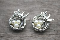 Wholesale Silver Tone Bird Charm Pendants - 35pcs-Bird-Nest-Charms-Silver-Tone-with-3-Pearl-Like-Beads-Simply-Stunning-bird-nest-pendants