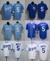 Wholesale Man City Away - Kansas City Royals #5 George Brett Home Away Jersey Cream White Grey Baby Blue Dark KC Throwback Pullover Retro Cool Base Stitched
