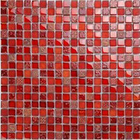 Wholesale Red Wall Tiles - High quality Chinese red tiles,waterproof glass mix resin&stone mosaic tiles wall kitchen flooring, Multi - purpose glass tiles, LSHYM1503