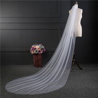 Long Chapel Train Bridal Veils для свадебного платья Свадебные платья Cut Edge White Ivory Tulle One Layer 3 M Bridal Veils With Comb