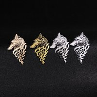 Wholesale Vintage Plastic Brooch - Euro-American Vintage Wolf Head Brooch Alloy Brooches For Men personality Shirt Suit Collar Brooch Jewelry findings wholesale J1025