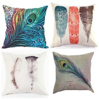 Wholesale Peacock Print Pillow Cases - Feather Cushion Cover Peacock Hair Pillow Case Non Core Cushions Linen Covers Hold Cotton Pillow Cases Colored Feathers Hot Sale 8ht R