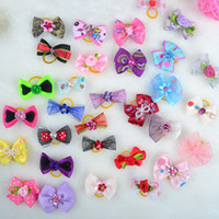Wholesale Shop Wholesale Spring - New 200pcs Lot Dog Grooming Bows Diamand Pearls Style Pet Hair Bows Dog Hair Accessories Pet Shop Dog Acessorios