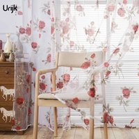 new curtains pattern 2021 - Urijk 1PC Living Room Tulle Curtains Burnout Rose Pattern Bedroom Flat Window Curtain Transparent Romantic Style 2017 New