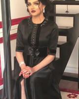 Wholesale T Length Velvet Dress - 2017 Black Evening Dresses Beaded Crew Neckline Velvet Ribbon Over Soft Satin A Line Gowns with 1 2 Half Long Sleeves