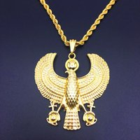 Wholesale eagle necklaces women - Ancient Egyptian Ankai Life Character Eagle Patron Guardian Cross Necklace Ankhan Men   Women Gold Color Trendy Animal Jewelry