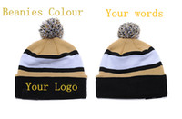 Wholesale Wholesale Cuffed Beanies - Custom Knit Football Beanies Quality Winter Cap Personalized Skullies Pom Embroidery Cuff Caps cap snowboad 100PCS LOT Free Shipping DHL