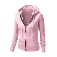 Wholesale Women S Zipper Hoodie Wholesale - Wholesale- Women Casual Hoodie Zipper Jacket Coat Fashion Girl Slim Solid Color Top Coat