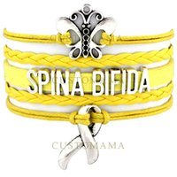 Wholesale Survivor Charms Wholesale - Custom-Infinity Love Spina Bifida Awareness Ribbon Butterfly Charm Survivor Bracelet Wrap Braided Adjustable Bracelet Bangles-Drop Shipping