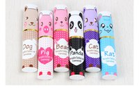 Wholesale chopstick container - Portable pen container shape 3 pieces set tableware Cartoon animal children spoon fork chopsticks cutlery Creative gifts tableware