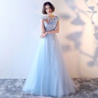 Wholesale Tulle Dresses Embroidery - Plus Size Evening Dress 2017 Pink Blue Lace Flowers Tulle Long Luxury Floor-length Appliqued Party Prom Banquet Formal Gown Robe De Soiree