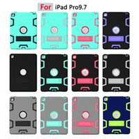 Wholesale Color Kindle Cases - Shockproof Drop Resistance Protective Back Cover Stand Case Hit Color Hybrid Silica gel + PC for iPad Pro 9.7 inch
