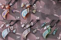 Wholesale Wholesale Blown Glass Pendants - Streamer Glitter Blown Venetian Glass Necklaces Pendants And Earrings Jewelry Sets Handmade Fashion Jewelry Free Shipping