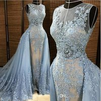 Wholesale Elie Saab Light Blue Gown - Elie Saab Evening Dresses Detachable Overskirt Deep V Neck Illusion Blue-gray Pearls Beaded Lace Appliques Tulle Celebrity Prom Gown