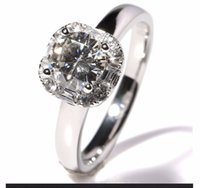 Wholesale Diamond Accent Rings - 1 Carat Lab Grown Moissanite Diamond Engagement Wedding Ring Cubic Zirconia Accents Solid 14K White Gold for Women