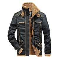 Wholesale Male Leather Wool Clothing - Autumn and Winter Cashmere Coats Faux Leather Jacket Fur Collar Warm Outdoor Outwear Tops Windbreakers Waterproof New Fashion Male Clothing
