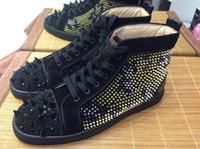 Wholesale Leopard Man Sneakers - MBSn998Z Size 35-47 Men Women Black Suede Leopard Print Spikes With Rhinestone Black Bottom High Top Fashion Sneakers