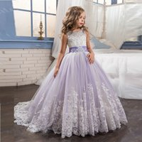 Wholesale Lilac Pageant Little Girl Dresses - 2017 Princess Lilac Little Bride Long Pageant Dress for Girls Glitz Puffy Tulle Prom Dress Children Graduation Gown Vestido