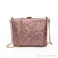 Wholesale Black Sequin Clutch Wallet - Woman Evening bag Gold Glittered Clutch bags Wallet Wedding Purse Party Banquet girls shoulder bag Messenger bag 2017 NEW