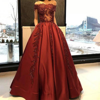 Wholesale Dresses Wedding Lace Shouder - Robe De Soiree Modest Boat Neck Red Satin Evening Dresses Off the Shouder Bride Banquet Gowns Women's Prom Dress Party Gowns