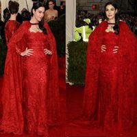 ingrosso abito rosso caftano arabo-Nuovo arrivo 2017 abiti da sera in pizzo rosso con abiti da ballo arabo del capo abito manica lunga Dubai Kaftan vestito da usura per le donne
