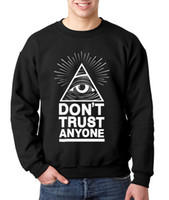 Wholesale Custom Printed Fleece - Wholesale-Dont Trust Anyone autumn winter fleece hoodies Illuminati All Seeing Eye sweatshirt custom made games men harajuku hoodies