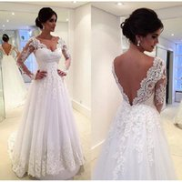 black women poets - Long Sleeves Wedding Dresses White Lace Appliques Backless Bridal Gowns Sexy A line V Neck Tulle Elegant Women Vestido De Casamento
