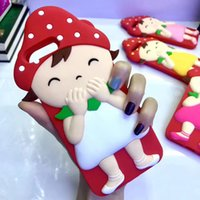 Wholesale Strawberry Girl Cover - Cartoon 3D Strawberry Girl Silicon Case For iPhone 6 6s 7 Plus Silicone Gel Back Case Funda Cover